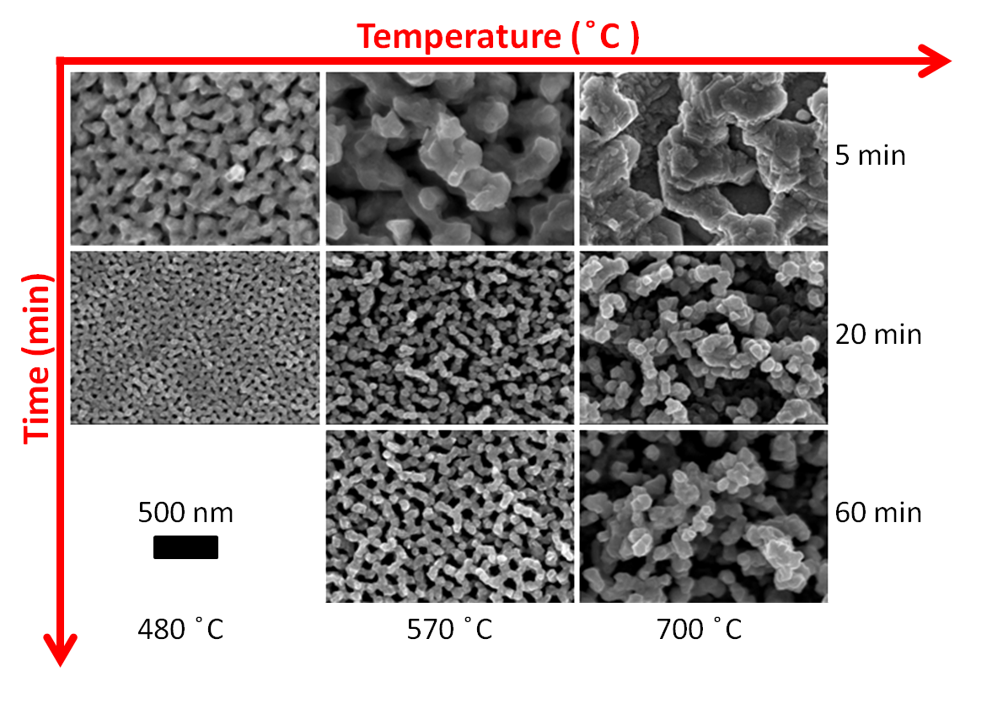 Using helium plasma exposure the metal surface can become quickly and spontaneously nanostructured. We can control the size of the nanostructuring via time and temperature of the substrate.