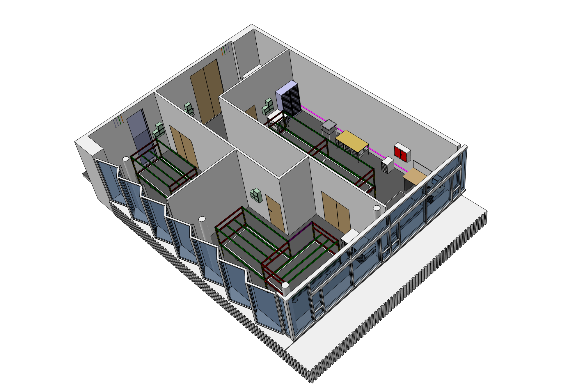 Model of lab space with high-tech infrastructure